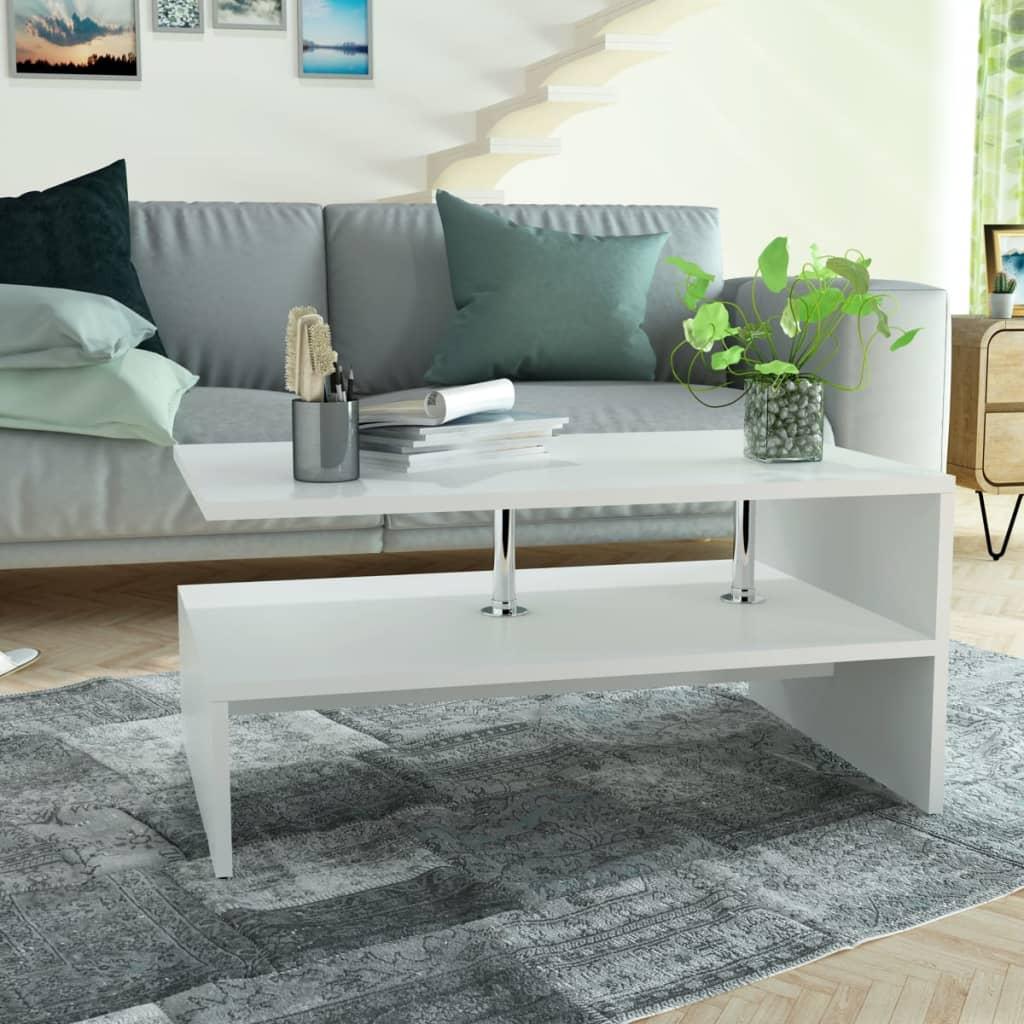 vidaXL Konferenční stolek dřevotříska 90x59x42 cm bílá