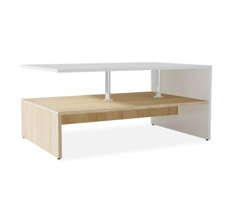 vidaXL sofabord spånplade 90 x 59 x 42 cm egetræ og hvid[2/6]