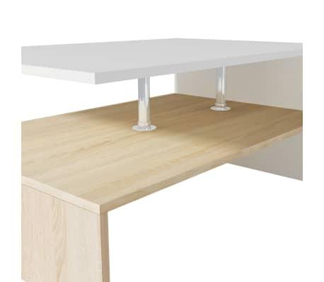 vidaXL sofabord spånplade 90 x 59 x 42 cm egetræ og hvid[4/6]