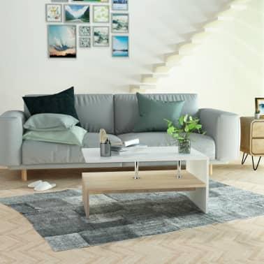 vidaXL sofabord spånplade 90 x 59 x 42 cm egetræ og hvid[5/6]