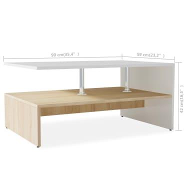 vidaXL sofabord spånplade 90 x 59 x 42 cm egetræ og hvid[6/6]