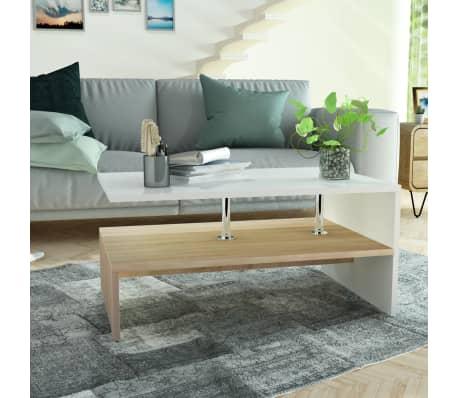 vidaXL sofabord spånplade 90 x 59 x 42 cm egetræ og hvid[1/6]