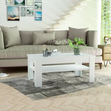 vidaXL Kavos staliukas, med. drož. plokštė, 110x65x48cm, baltas[3/7]