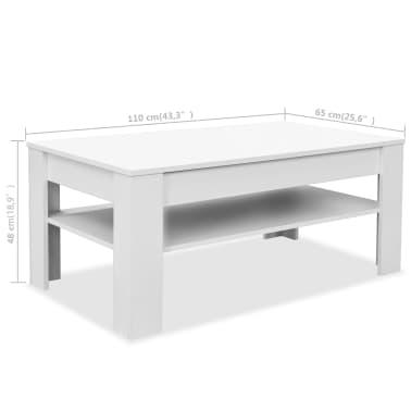vidaXL Kavos staliukas, med. drož. plokštė, 110x65x48cm, baltas[7/7]