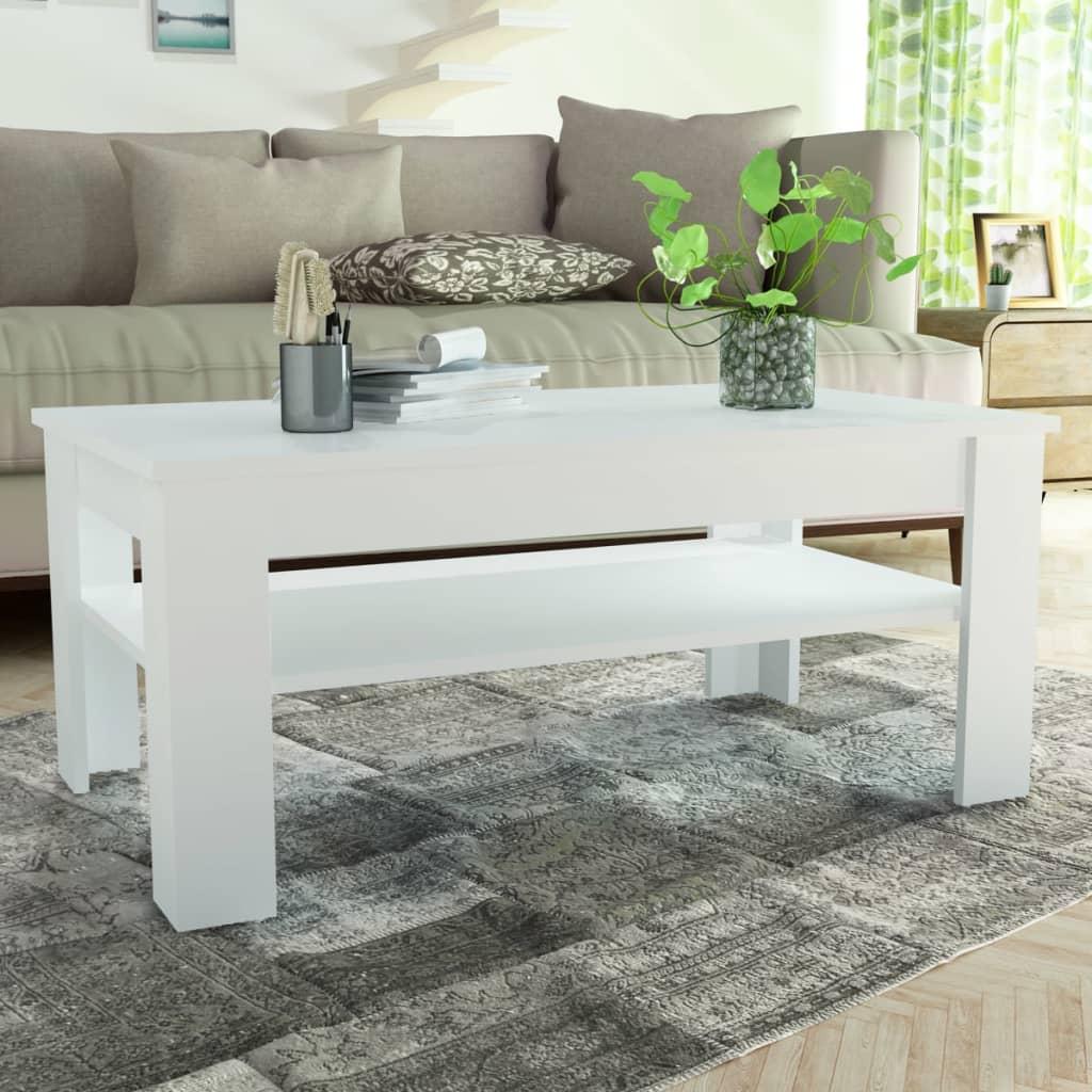 vidaXL Konferenční stolek dřevotříska 110x65x48 cm bílá