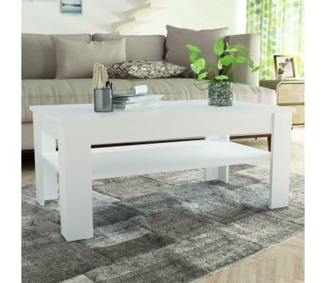 vidaXL Kavos staliukas, med. drož. plokštė, 110x65x48cm, baltas[1/7]