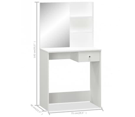 vidaXL Coiffeuse Aggloméré 75 x 40 x 141 cm Blanc[5/5]