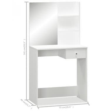 vidaXL Schminktisch Spanplatte 75×40×141 cm Weiß[5/5]