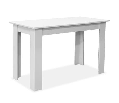 vidaXL Eettafel en banken 3 st spaanplaat wit[3/7]