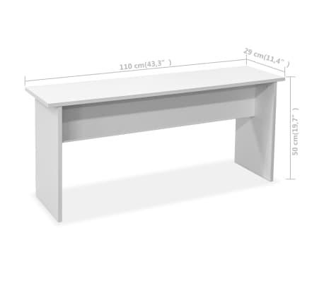 vidaXL Eettafel en banken 3 st spaanplaat wit[7/7]