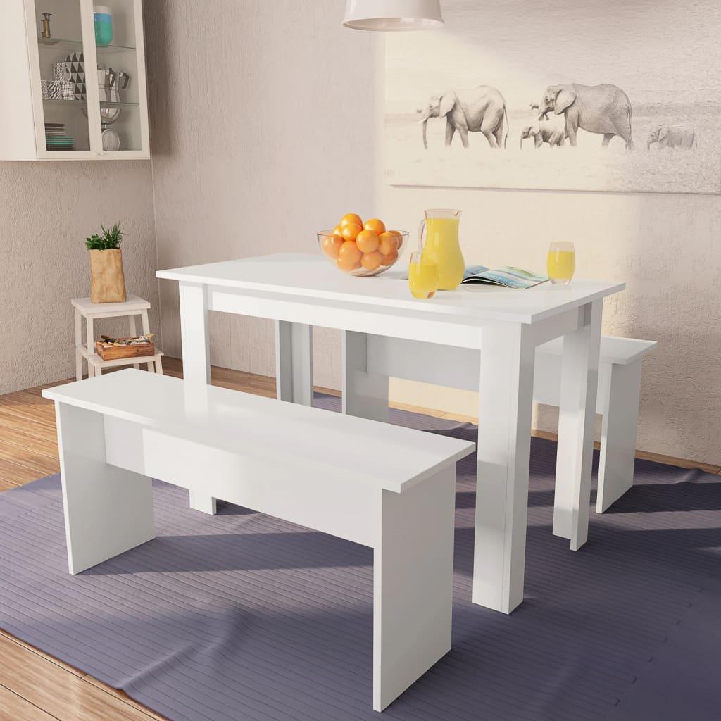 vidaXL Jídelní stůl a lavice 3 kusy dřevotříska bílá