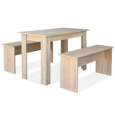 vidaXL Valgomojo stalas su suolais, 3vnt, med. drožlių plokštė, ąžuolo[2/7]