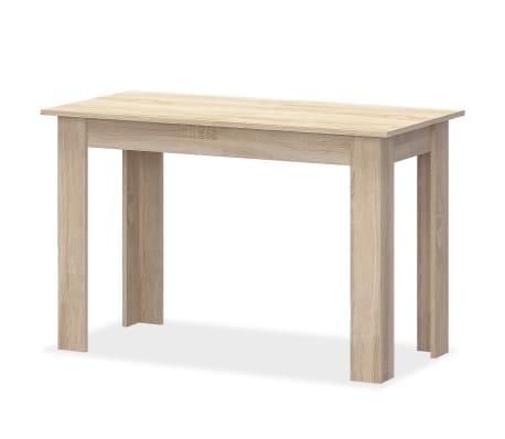 vidaXL Valgomojo stalas su suolais, 3vnt, med. drožlių plokštė, ąžuolo[3/7]