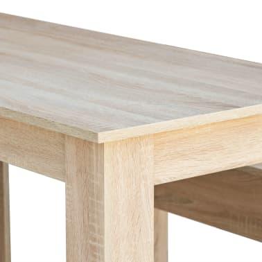 vidaXL Valgomojo stalas su suolais, 3vnt, med. drožlių plokštė, ąžuolo[5/7]