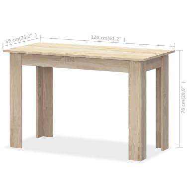 vidaXL Valgomojo stalas su suolais, 3vnt, med. drožlių plokštė, ąžuolo[6/7]