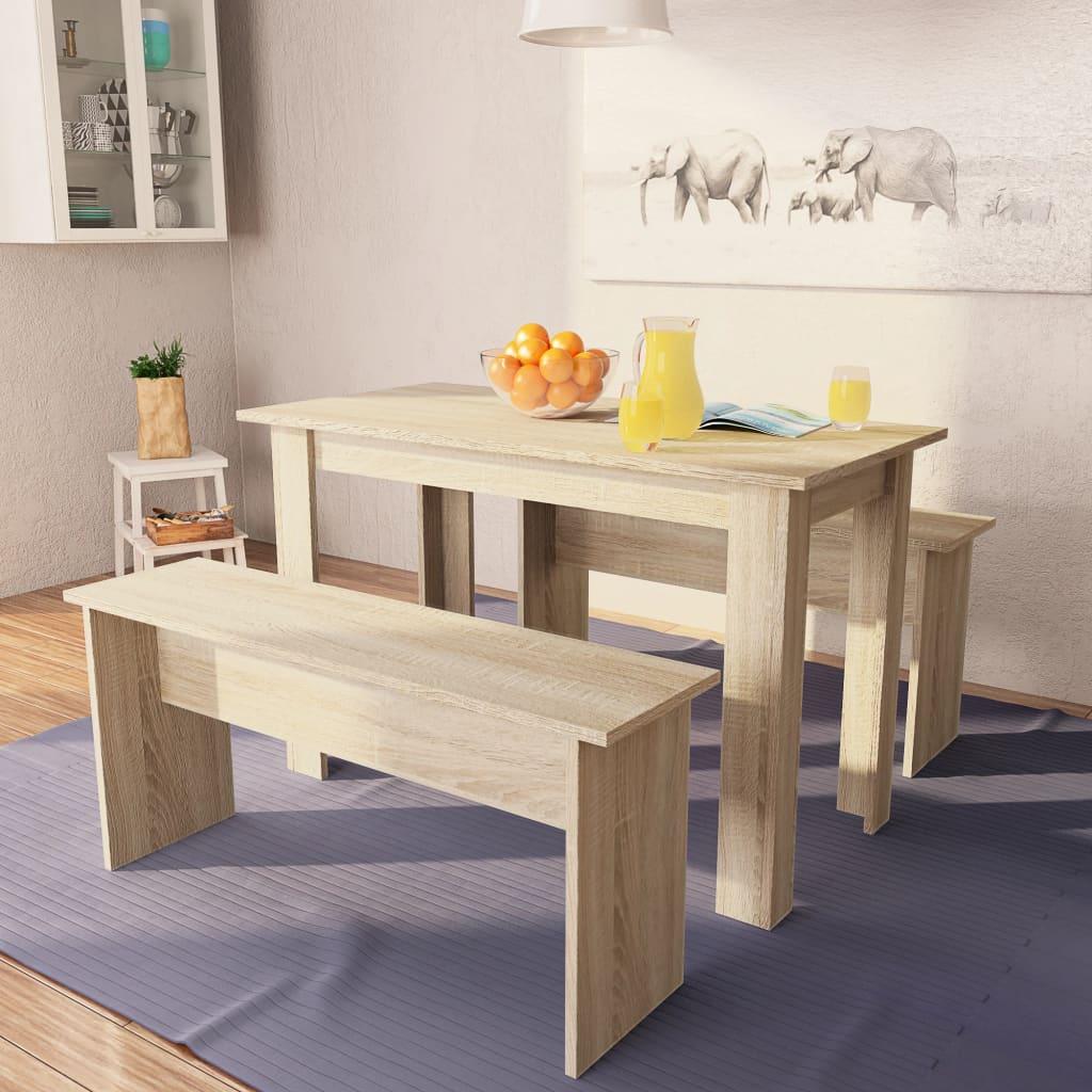 vidaXL Jídelní stůl a lavice 3 kusy dřevotříska dub