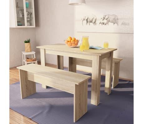 vidaXL Mesa de comedor y bancos 3 piezas madera aglomerada color roble