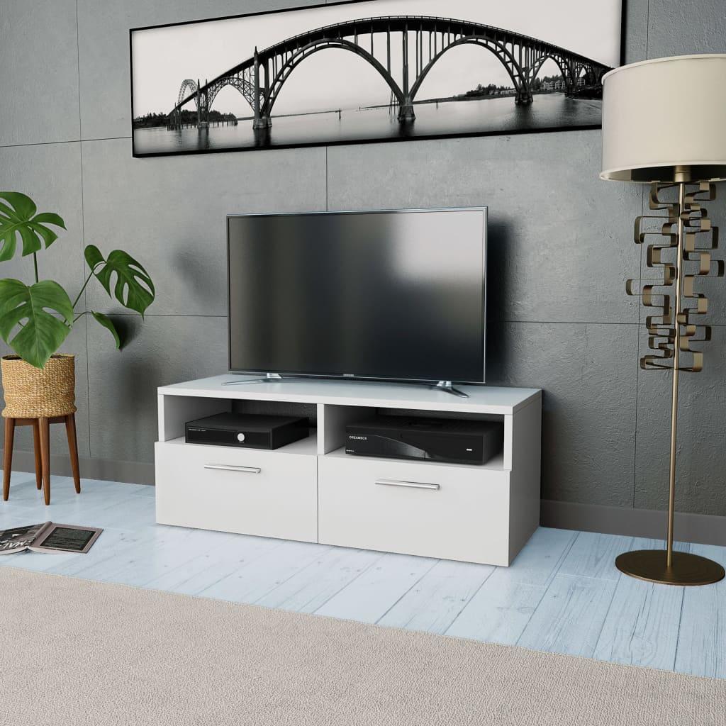 vidaXL Stolek pod TV, dřevotříska, 95 x 35 x 36 cm, bílý