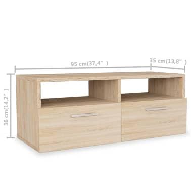 vidaXL Tv-meubel 95x35x36 cm spaanplaat eikenkleurig[5/5]