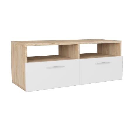 vidaXL tölgyfa/fehér színű faforgácslap TV szekrény 95 x 35 x 36 cm