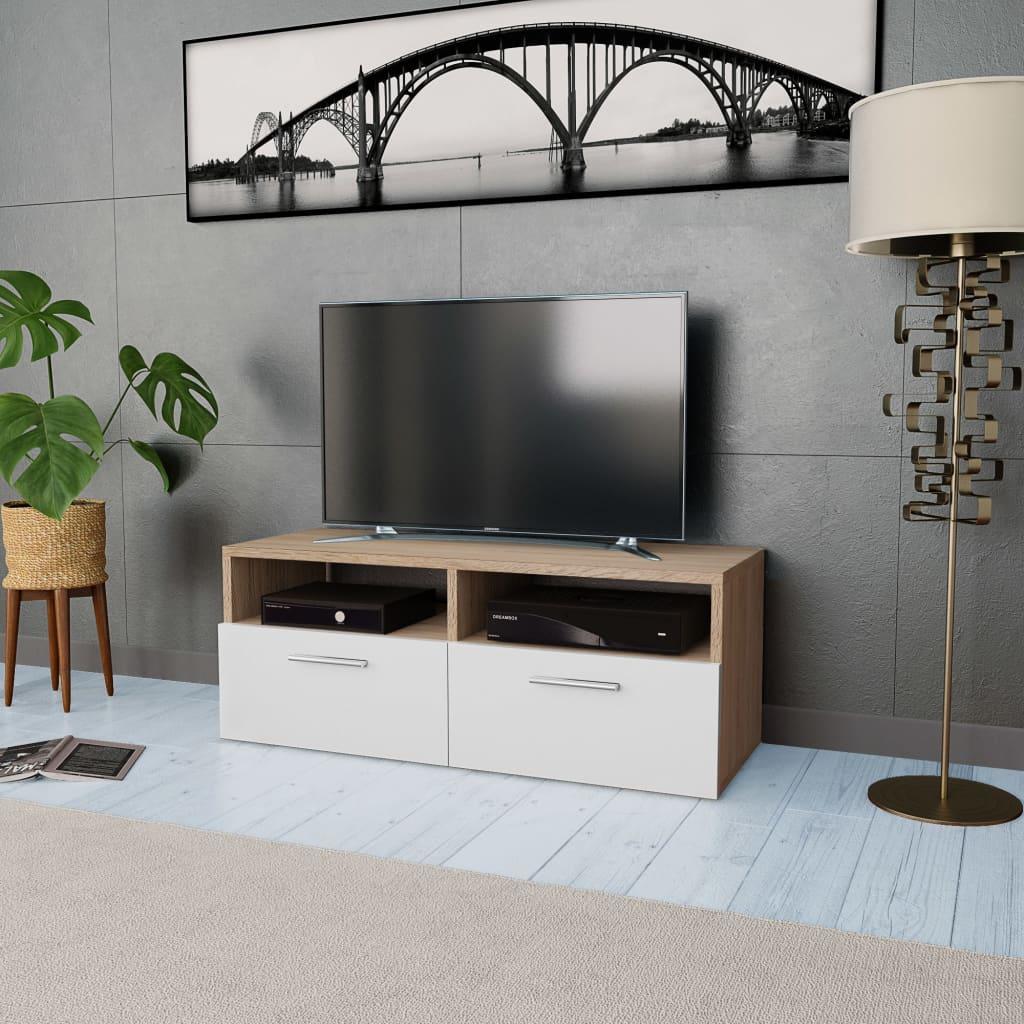 vidaXL Stolek pod TV, dřevotříska, 95 x 35 x 36 cm, dub a bílá