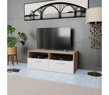 acheter vidaxl meuble tv agglom r 95 x 35 x 36 cm ch ne et blanc pas cher. Black Bedroom Furniture Sets. Home Design Ideas