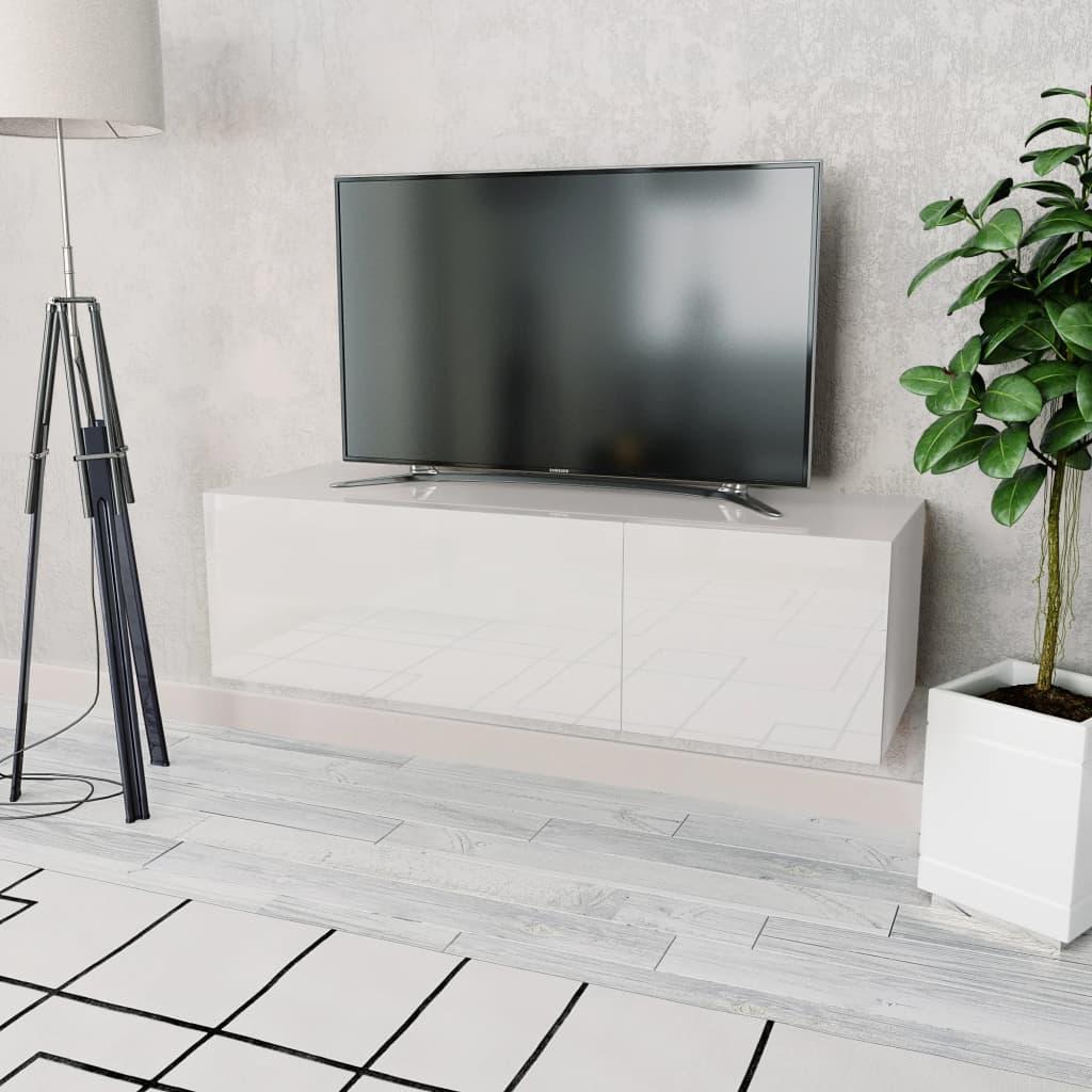 vidaXL Comodă TV, PAL 120 x 40 x 34 cm Alb foarte lucios imagine vidaxl.ro