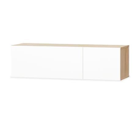 vidaXL Tv-meubel 120x40x34 cm spaanplaat hoogglans wit en eikenkleur