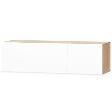 vidaXL Tv-meubel 120x40x34 cm spaanplaat hoogglans wit en eikenkleur[2/5]