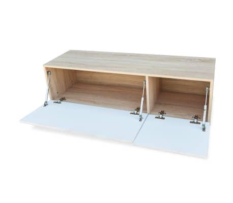 vidaXL Tv-meubel 120x40x34 cm spaanplaat hoogglans wit en eikenkleur[3/5]