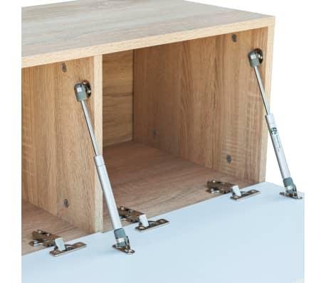 vidaXL Tv-meubel 120x40x34 cm spaanplaat hoogglans wit en eikenkleur[4/5]