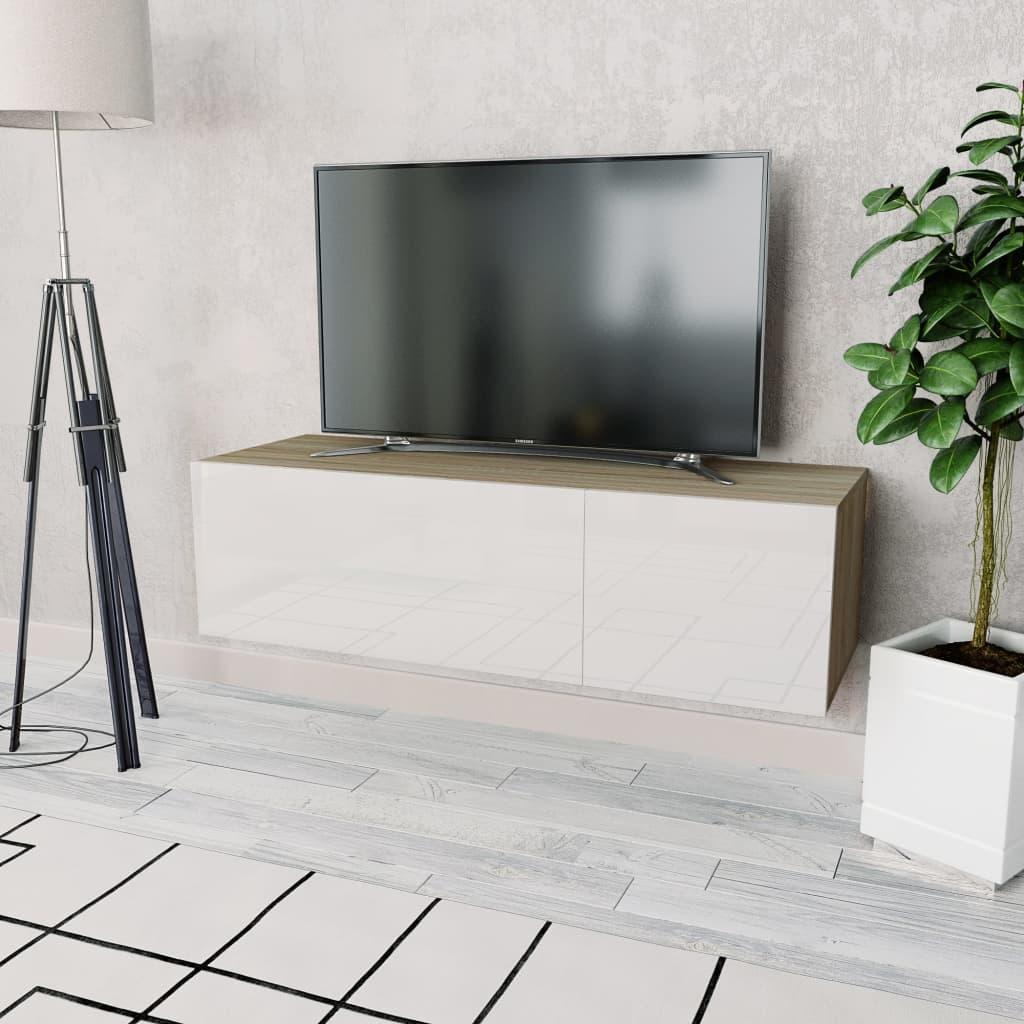 vidaXL Έπιπλο Τηλεόρασης Γυαλιστ. Λευκό/Δρυς 120x40x34 εκ. Μοριοσανίδα