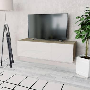 vidaXL Tv-meubel 120x40x34 cm spaanplaat hoogglans wit en eikenkleur[1/5]