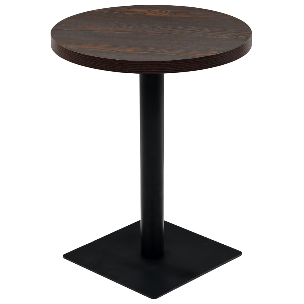 vidaXL Τραπέζι Bistro Στρογγυλό Σκούρο Σταχτί 60 x 75 εκ. MDF / Ατσάλι