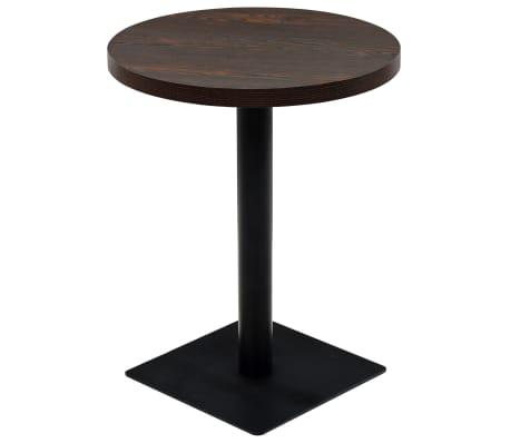 vidaXL bistro galds, 60x75cm, apaļš, MDF, tērauds, tumšpelēks