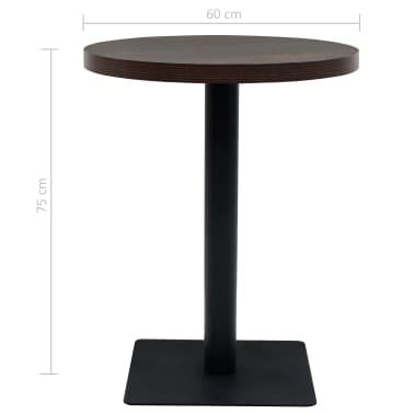 vidaXL Bistro staliukas, MDF ir plienas, apval., 60x75cm, tams. uosis[5/6]