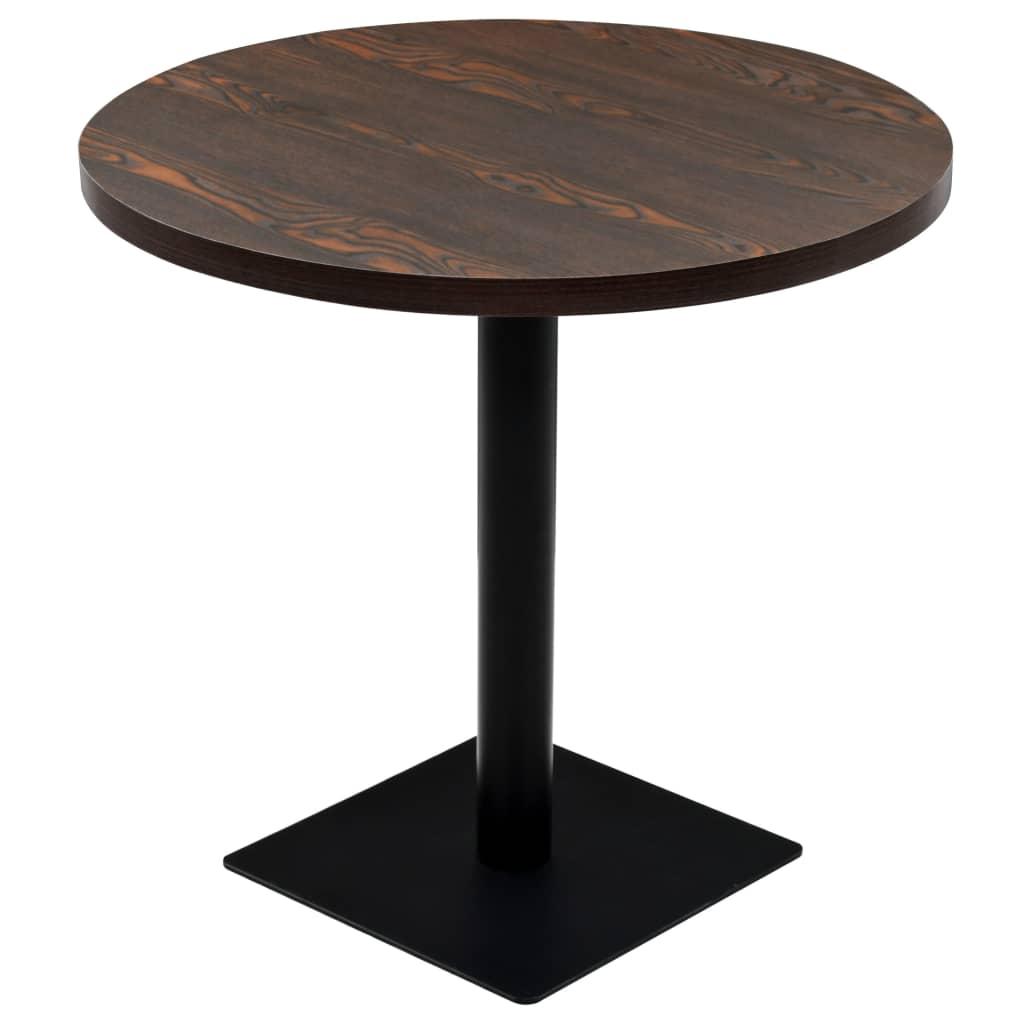 vidaXL Τραπέζι Bistro Στρογγυλό Σκούρο Σταχτί 80 x 75 εκ. MDF / Ατσάλι