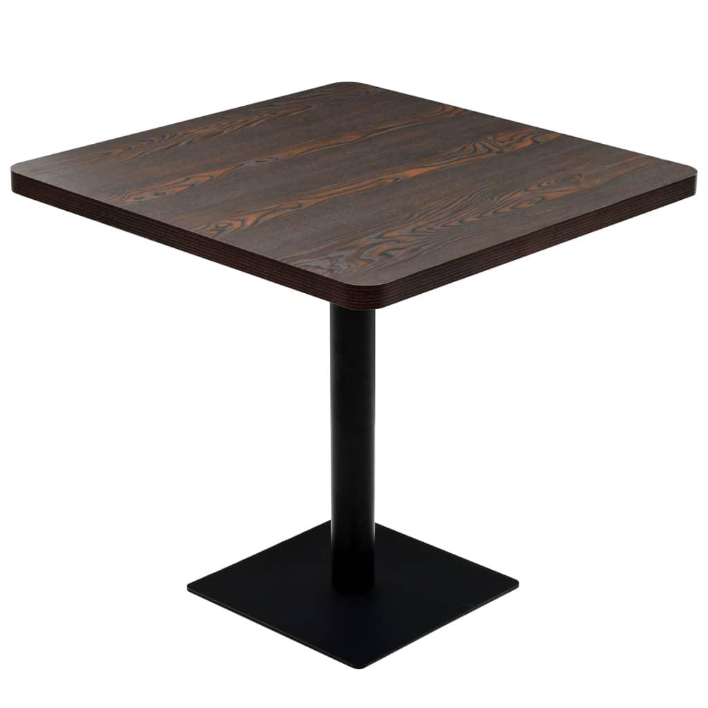 vidaXL Τραπέζι Bistro Τετράγωνο Σκούρο Σταχτί 80x80x75 εκ. MDF/Ατσάλι