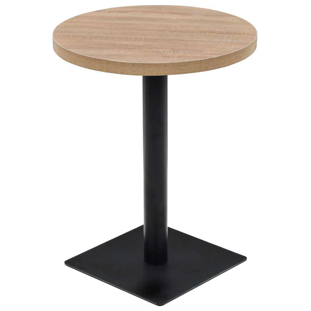 vidaXL Τραπέζι Bistro Στρογγυλό Χρώμα Δρυός 60 x 75 εκ. MDF / Ατσάλι