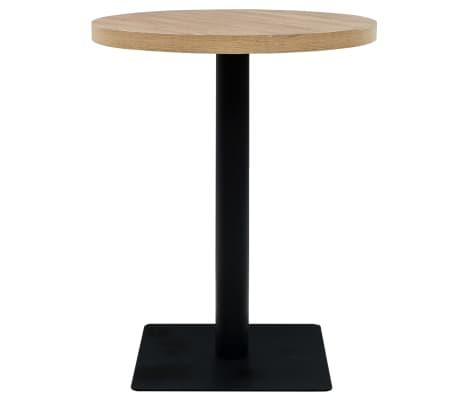 vidaXL Bistro miza mediapan in jeklo okrogla 60x75 cm barva hrasta[2/6]