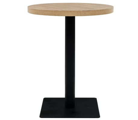 vidaXL Bistro staliukas, MDF ir plienas, apvalus, 60x75cm, ąžuol. sp.[2/6]