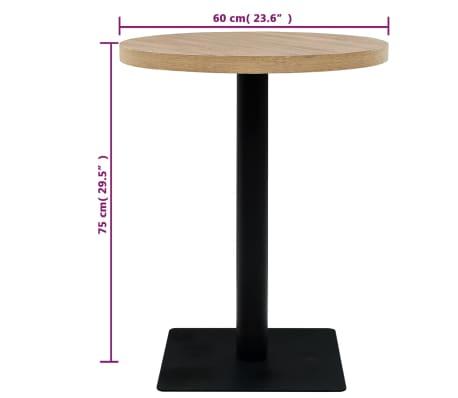 vidaXL Bistro staliukas, MDF ir plienas, apvalus, 60x75cm, ąžuol. sp.[5/6]