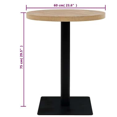 vidaXL Bistro miza mediapan in jeklo okrogla 60x75 cm barva hrasta[5/6]