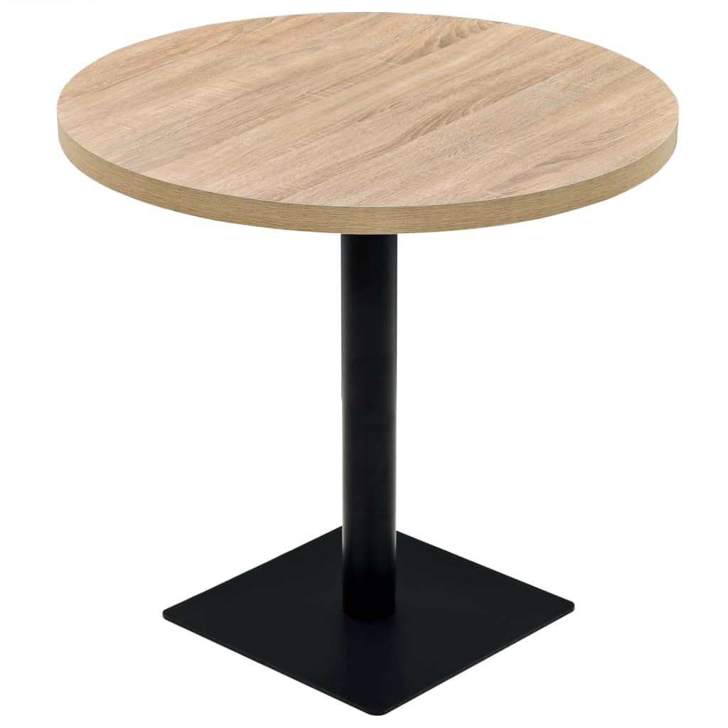 vidaXL Τραπέζι Bistro Στρογγυλό Χρώμα Δρυός 80 x 75 εκ. MDF / Ατσάλι