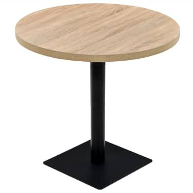 vidaXL Bistro staliukas, MDF ir plienas, apvalus, 80x75cm, ąžuolo sp.[1/6]