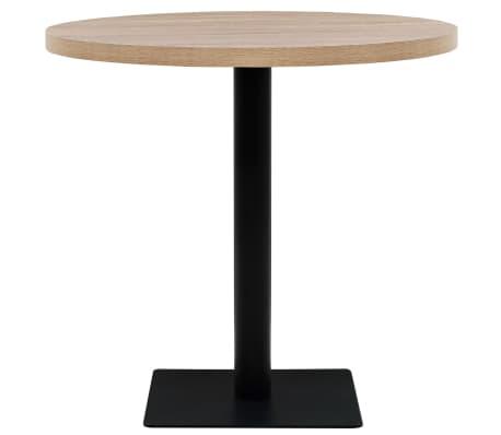 vidaXL Bistro staliukas, MDF ir plienas, apvalus, 80x75cm, ąžuolo sp.[2/6]