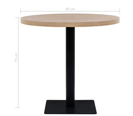 vidaXL Bistro staliukas, MDF ir plienas, apvalus, 80x75cm, ąžuolo sp.[5/6]