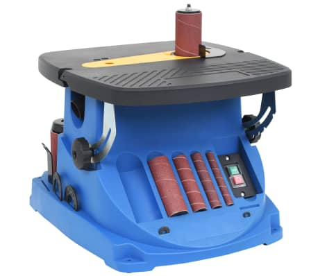 vidaXL Ponceuse à bande et à axe oscillant 450 W Bleu[2/8]