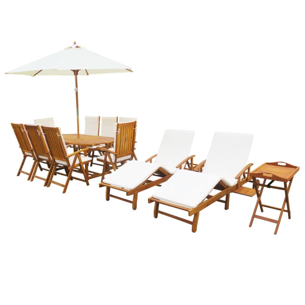 vidaXL Tuin- en loungeset massief acaciahout 23-delig