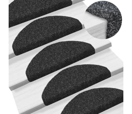 vidaXL Selvklebende trappematter nålestempel 15 stk 65x21x4 cm svart[1/6]